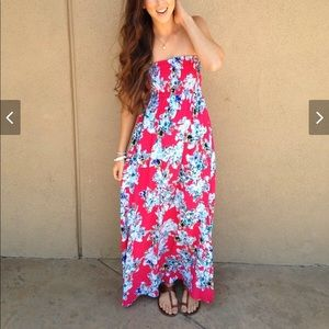 Xhilaration pink floral maxi dress